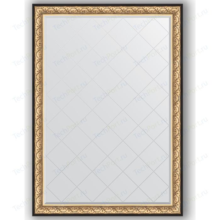 Зеркало с гравировкой поворотное Evoform Exclusive-G 135x190 см, в багетной раме - барокко золото 106 мм (BY 4509)
