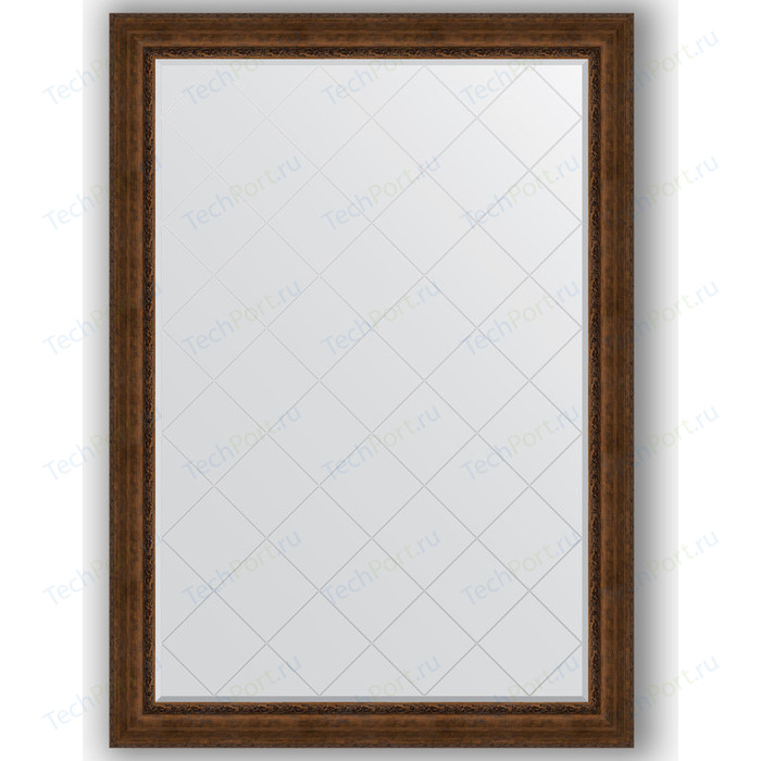 Зеркало с гравировкой поворотное Evoform Exclusive-G 137x192 см, в багетной раме - состаренная бронза орнаментом 120 мм (BY 4515)