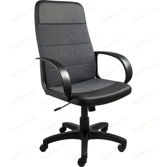 Кресло Алвест AV 112 PL (727) MK ткань 415 серая с черной ниткой / кз 311 черный