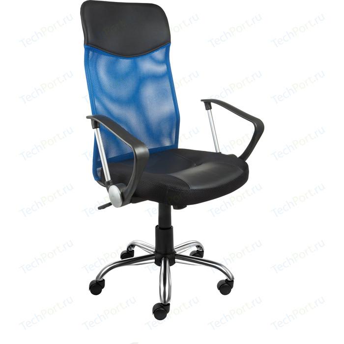 Кресло Алвест AV 128 CH (682 SL) МК кз TW сетка/сетка односл 311/455/471 черн/черн/синяя, шт кресло алвест av 112 pl 727 mk ткань 418 черная кз 311 черный