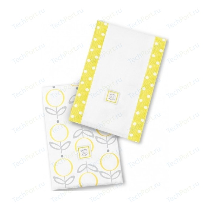 Полотенчики SwaddleDesigns Baby Burpie Set Yellow Lolli Fleur (SD-601Y) комфортер платочек обнимашка swaddledesigns baby lovie swaddledesigns плюшевая нежность wh w sterling sd 010st