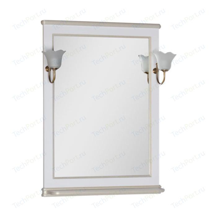Зеркало Aquanet Валенса 70 с светильниками, белый краколет/золото (182649, 173024)