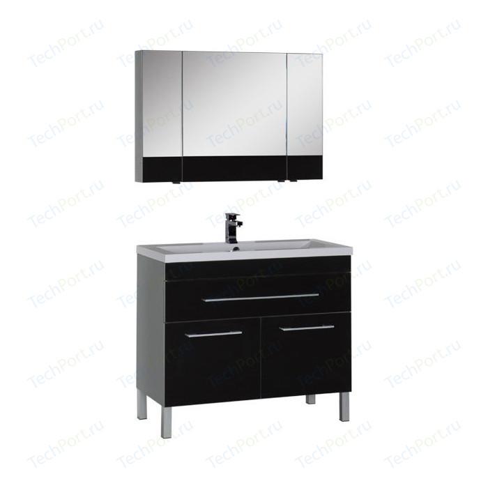 Мебель для ванной Aquanet Верона 100 с дверцами и ящиком, черный