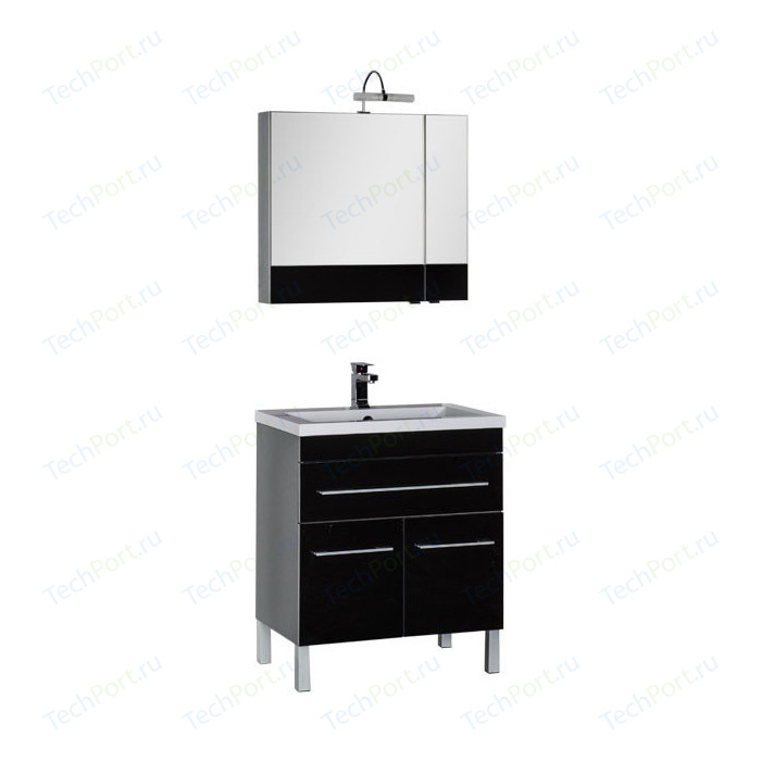 Мебель для ванной Aquanet Верона 75 с дверцами и ящиком, черный тумба с раковиной aquanet верона 58 с дверцами и ящиком черная 182705 158754