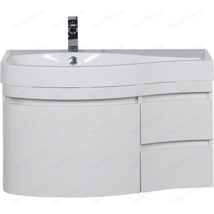 Тумба под раковину Aquanet Сопрано 95 L с дверцами и ящиками, белая (169631) раковина мебельная aquanet сопрано 95 правая 169396