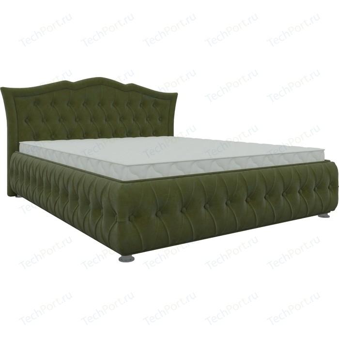 Кровать двуспальная АртМебель Герда микровельвет зеленый