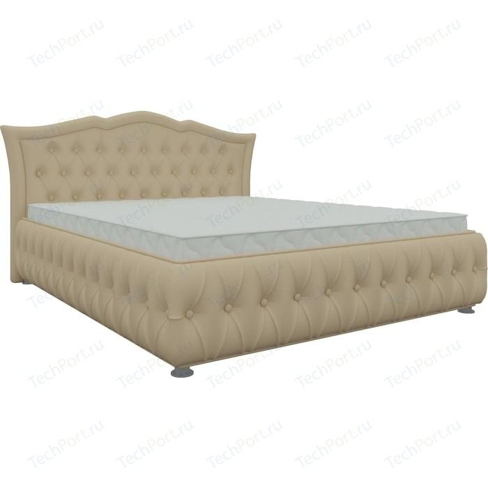 Кровать двуспальная АртМебель Герда экокожа беж