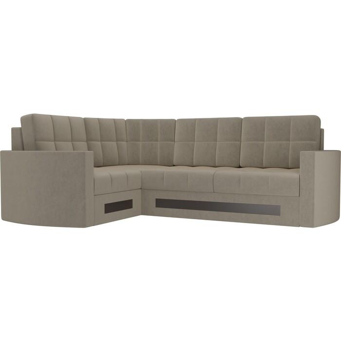 Диван угловой Мебелико Белла У микровельвет бежевый левый диван угловой мебелико гранд микровельвет бежевый левый