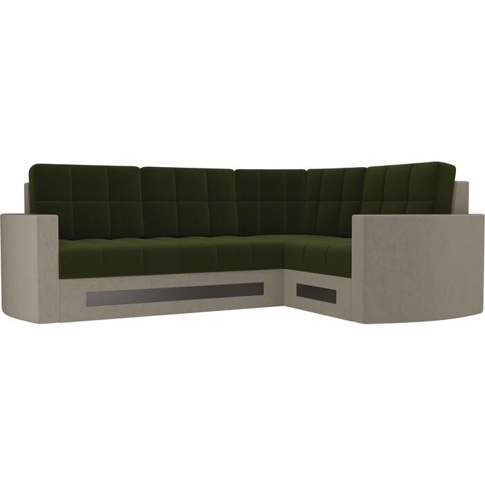 Фото - Диван угловой Мебелико Белла У микровельвет зелено-бежевый правый диван еврокнижка мебелико пазолини микровельвет зелено бежевый