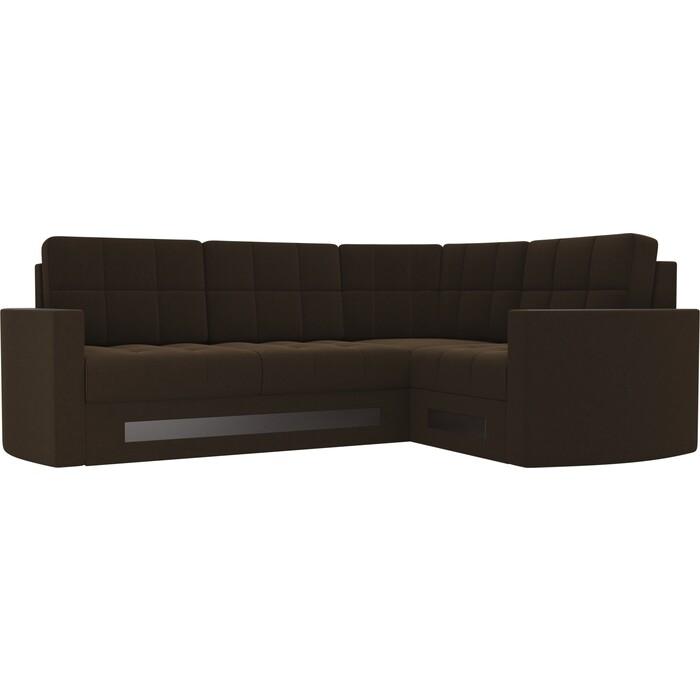 Диван угловой АртМебель Белла У микровельвет коричневый правый диван угловой артмебель даллас микровельвет коричневый правый