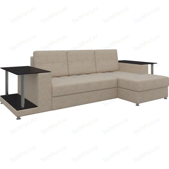Диван угловой АртМебель Даллас микровельвет бежевый правый диван угловой артмебель даллас микровельвет коричневый правый