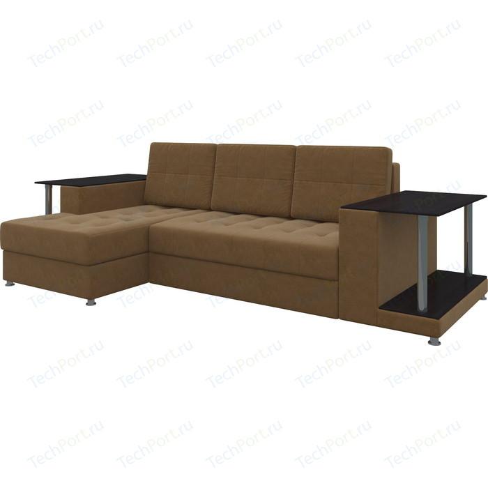 Диван угловой АртМебель Даллас микровельвет коричневый левый диван угловой артмебель даллас микровельвет коричневый правый