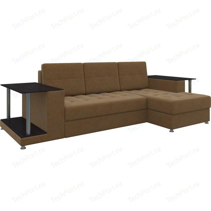 Диван угловой АртМебель Даллас микровельвет коричневый правый диван угловой артмебель даллас микровельвет коричневый правый