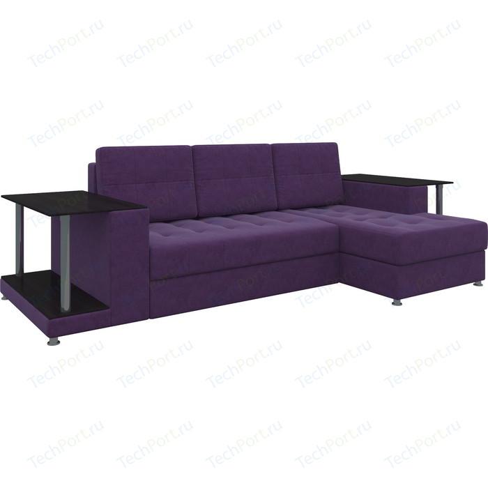 Диван угловой АртМебель Даллас микровельвет фиолетовый правый диван угловой артмебель даллас микровельвет коричневый правый