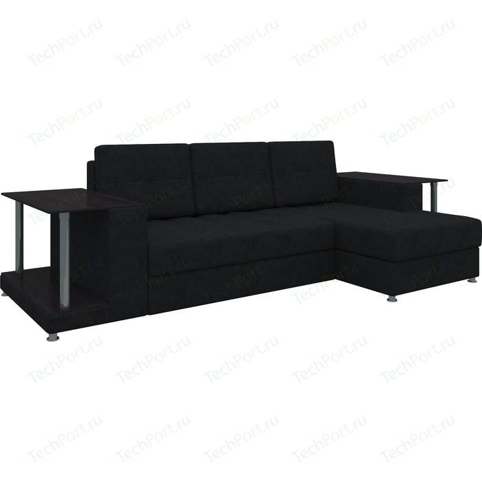 Диван угловой АртМебель Даллас микровельвет черный правый диван угловой артмебель даллас микровельвет коричневый правый