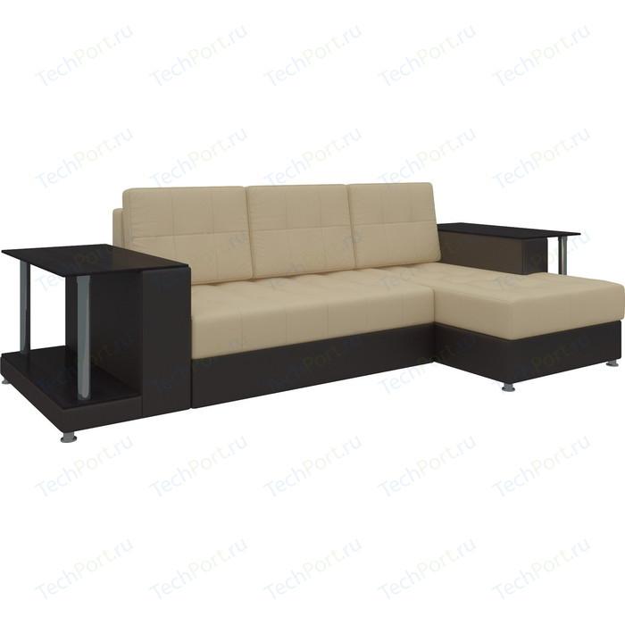 Диван угловой Мебелико Даллас эко-кожа бежево-коричневый правый угловой диван мебелико панда эко кожа коричневый правый