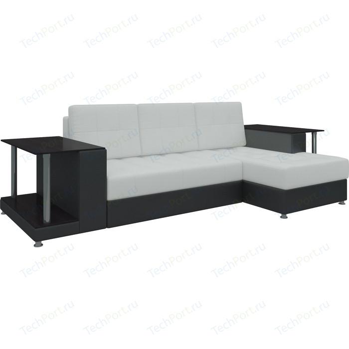 Диван угловой Мебелико Даллас эко-кожа бело-черный правый