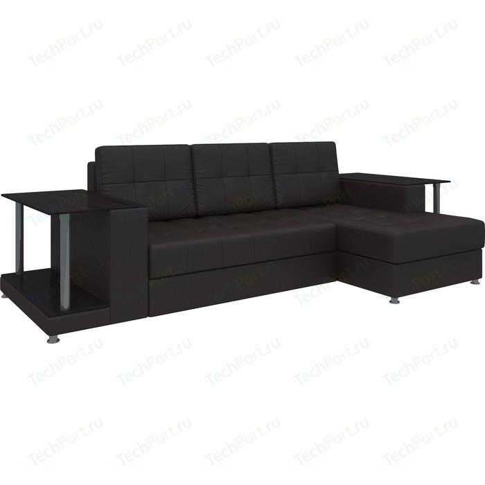 Диван угловой АртМебель Даллас эко-кожа коричневый правый диван угловой артмебель даллас микровельвет коричневый правый