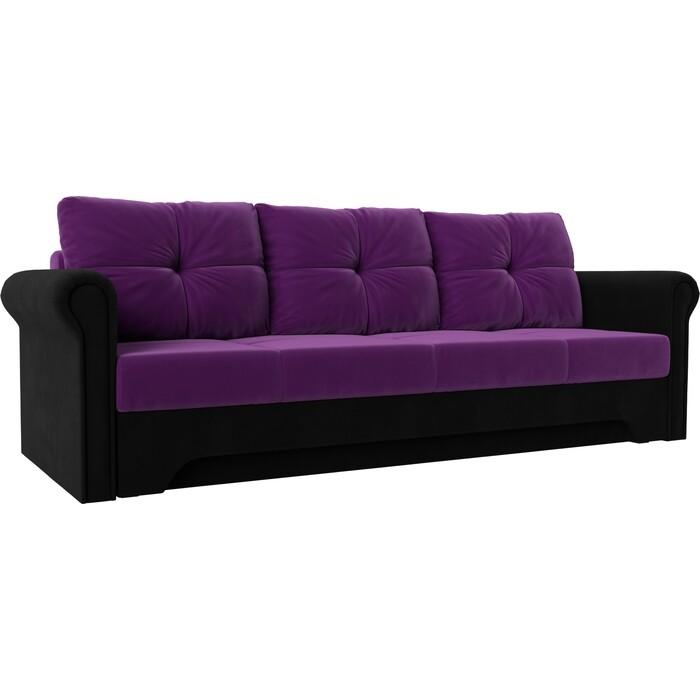 Диван-еврокнижка Мебелико Европа микровельвет фиолетово-черный