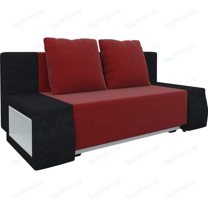 Диван-еврокнижка Мебелико Чарли люкс микровельвет красно-черный