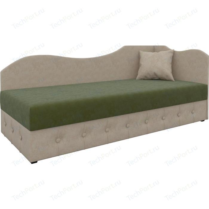 Фото - Диван Мебелико Тахта микровельвет зелено-бежевый правый диван еврокнижка мебелико пазолини микровельвет зелено бежевый