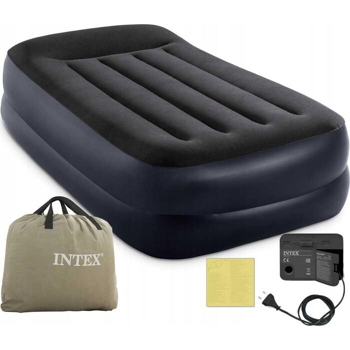 Надувная кровать Intex Pillow Rest Raised Bed (Twin) 99х191х42см с подголовником, встр.насос 220В, 64122