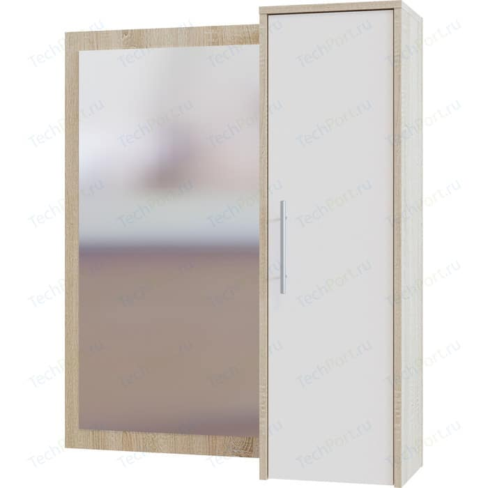 Шкаф настенный СОКОЛ ПЗ-4 с зеркалом дуб сонома/белый шкаф настенный сокол пз 4 с зеркалом дуб сонома белый