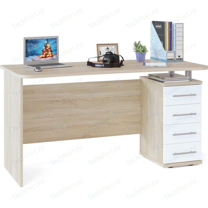 Стол компьютерный СОКОЛ КСТ-105.1 дуб сонома/белый