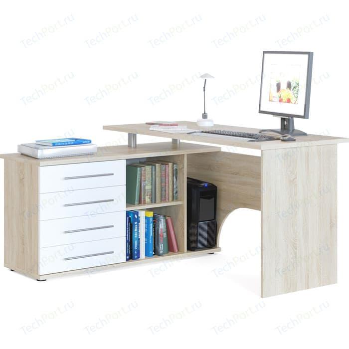 Стол компьютерный СОКОЛ КСТ-109Л дуб сонома/белый