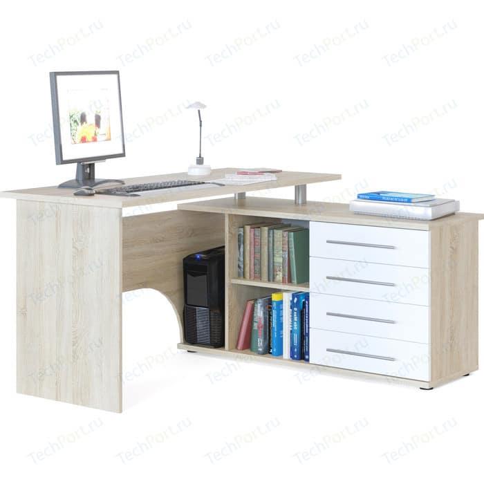 Стол компьютерный СОКОЛ КСТ-109П дуб сонома/белый