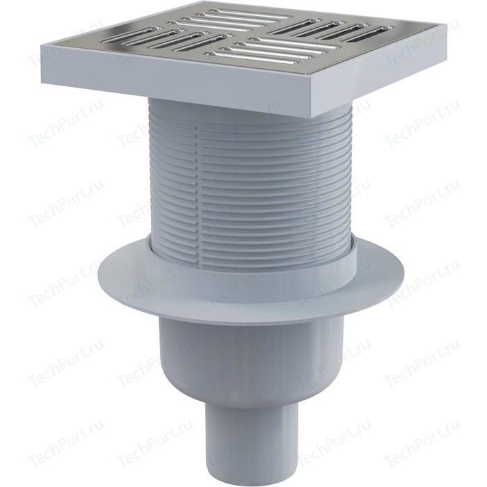 Душевой трап AlcaPlast 150х150/50, подводка - прямая, нержавеющая сталь, гидрозатвор мокрый (APV6411)