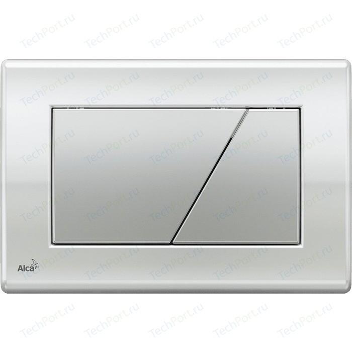 Кнопка смыва AlcaPlast хром глянцевая, кнопка - матовая (M173)