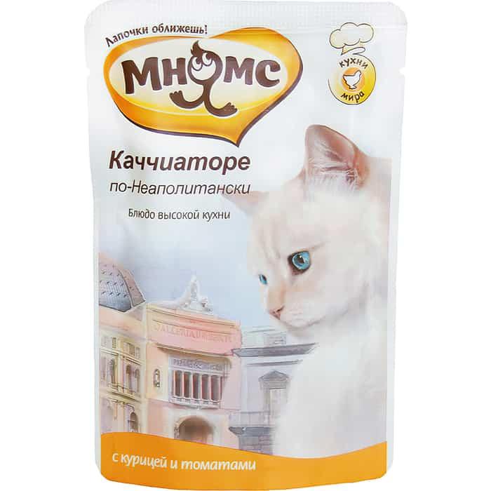 Паучи Мнямс Каччиаторе по-Неаполитански с курицей и томатами для кошек 85г