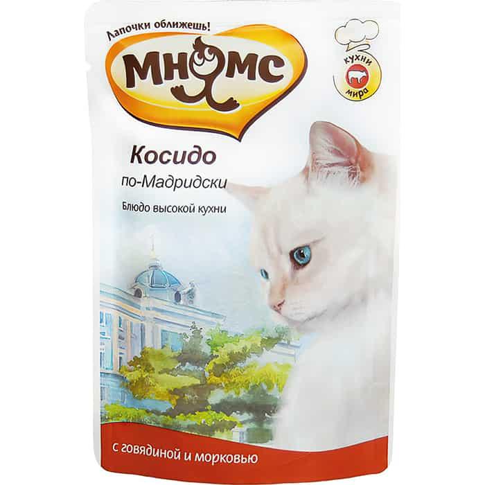 Паучи Мнямс Косидо по-Мадридски с говядиной и морковью для кошек 85г