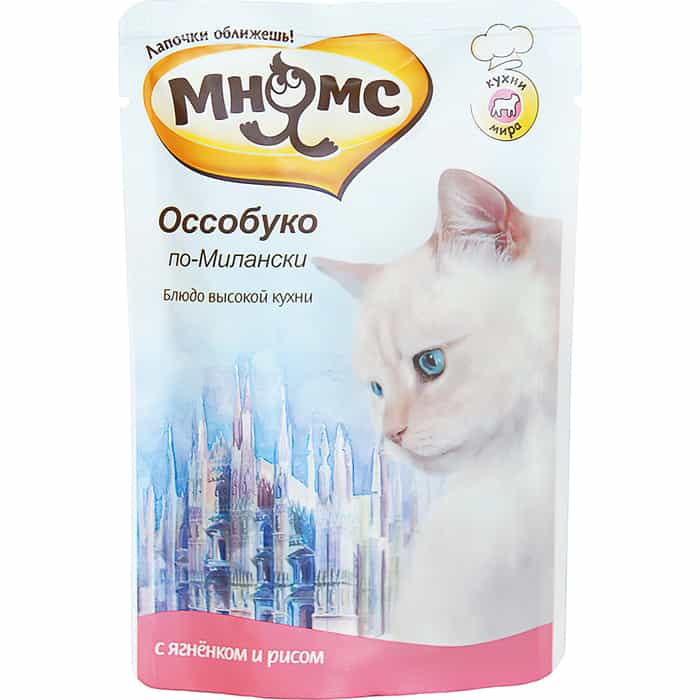 Паучи Мнямс Оссобуко по-Милански с ягненком и рисом для кошек 85г