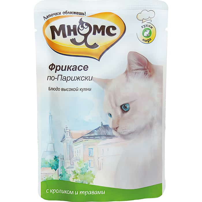 Паучи Мнямс Фрикасе по-Парижски с кроликом и травами для кошек 85г