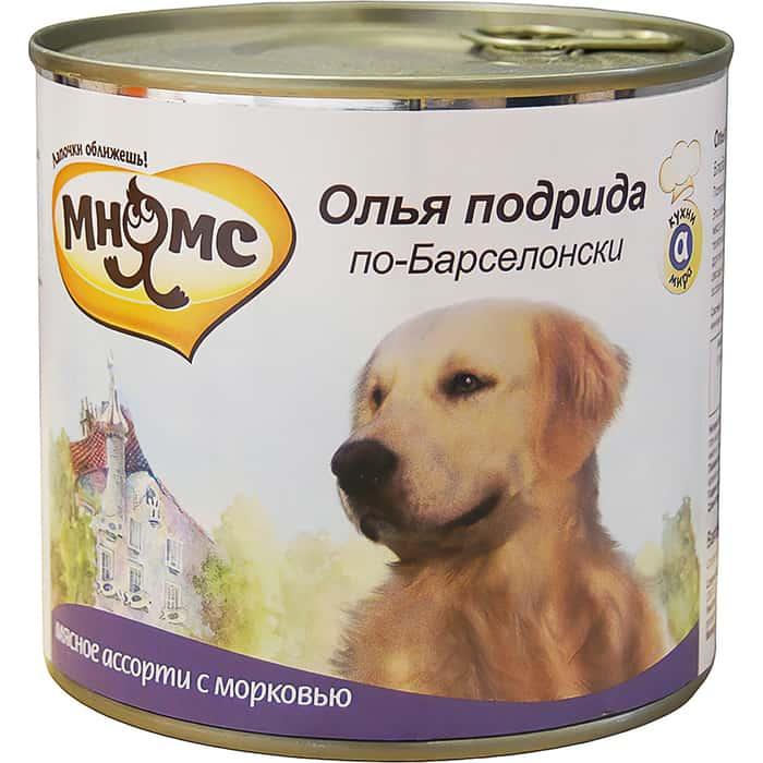 Консервы Мнямс Олья подрида по-Барселонски мясное ассорти с морковью для собак 600г