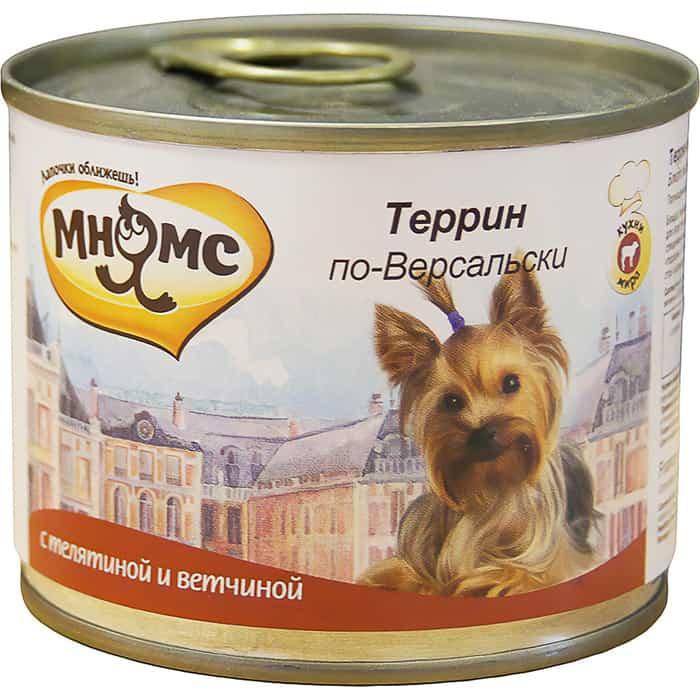 Консервы Мнямс Террин по-Версальски с телятина и ветчиной для собак 200г