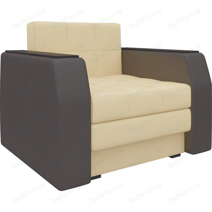 Кресло-кровать Мебелико Атлант эко-кожа бежево-коричневый