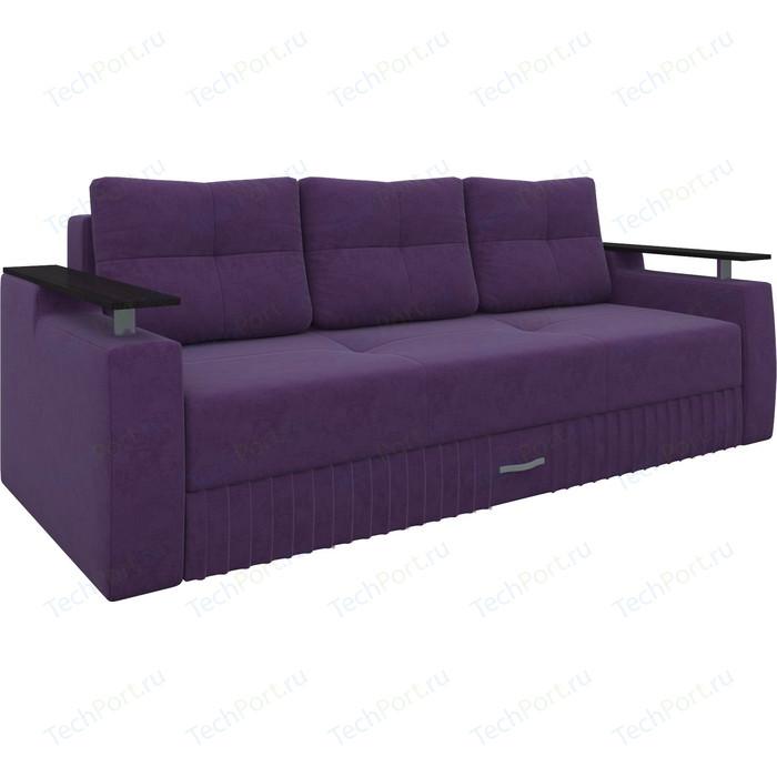 Диван-еврокнижка Мебелико Лотос микровельвет фиолетовый