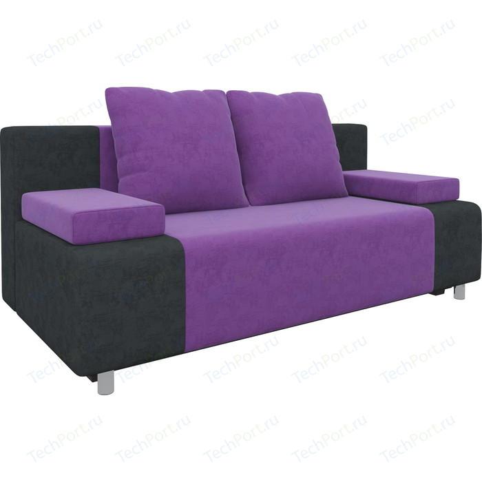 Диван-еврокнижка Мебелико Чарли микровельвет фиолетово-черный