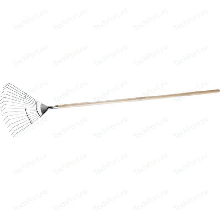 Грабли веерные Зубр Эксперт, 16 круглых зубцов (4-39451_z01) грабли садовые с черенком зубр 10 витых зубцов