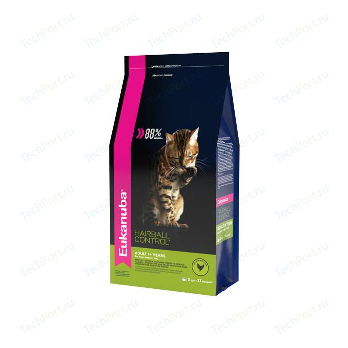 Сухой корм Eukanuba Adult Cat Hairball Control Rich in Poultry с домашней птицей вывода шерсти из желудка для кошек 2кг