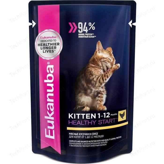 Паучи Eukanuba Kitten Healthy Star with Chicken с курицей мясные кусочки в соусе для котят 85г