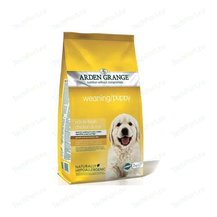 Сухой корм ARDEN GRANGE Weaning/Puppy Hypoallergenic Rich in Fresh Chicken&Rice гипоалергенный с курицей и рисом для щенков 2кг (AG600286)