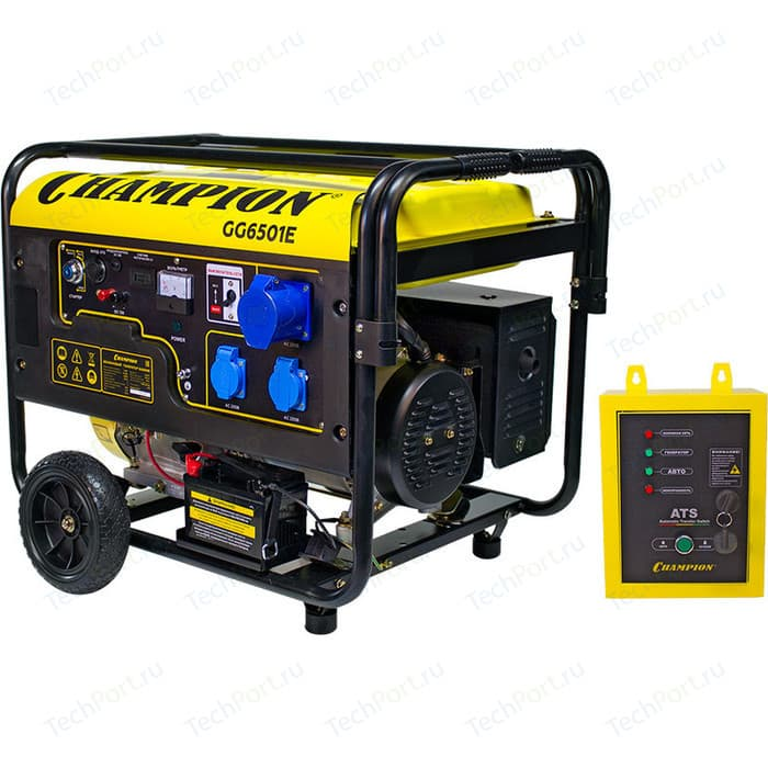 Генератор бензиновый Champion GG6501E + Блок ATS