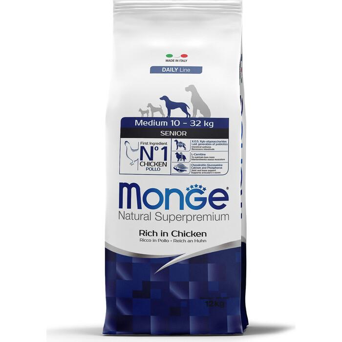 Сухой корм Monge Daily Line Senior Dog Medium Rich in Chicken с курицей для пожилых собак средних пород 12кг