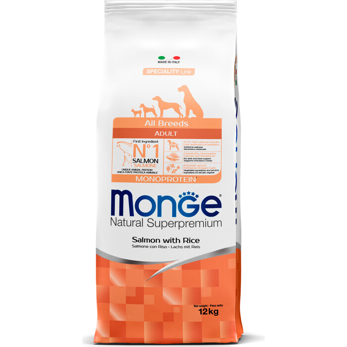 Сухой корм Monge Speciality Line Adult Dog All Breed Salmon and Rice с лососем и рисом для собак всех пород 12кг