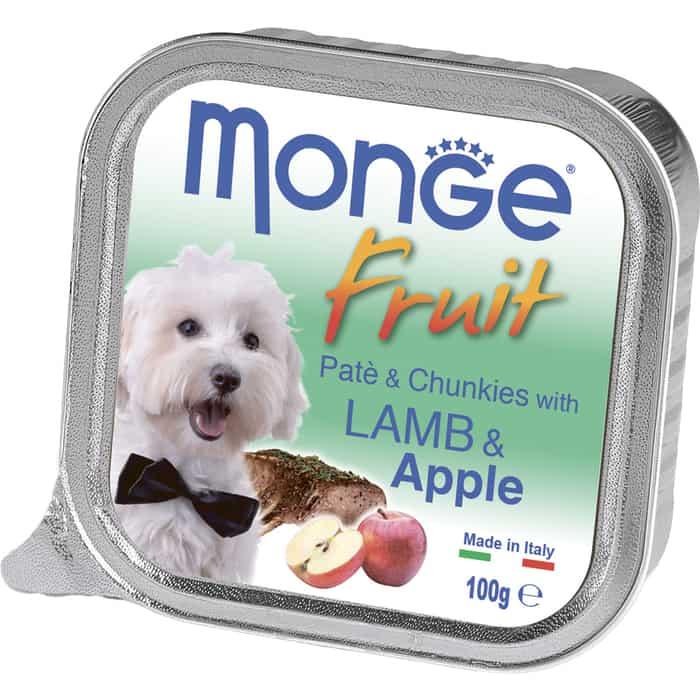 Консервы Monge Dog Fruit Pate and Chunkies with Lamb & Apple паштет и кусочки с ягненком яблоком для собак 100г