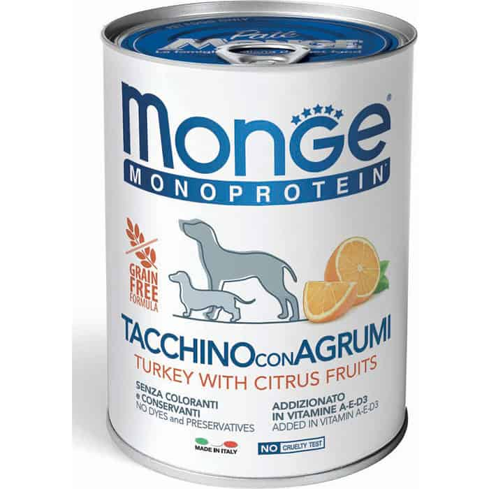Консервы Monge Dog Monoproteico Fruits Pate Turkey, Rice & Citrus паштет из индейки с рисом и цитрусовыми для собак 400г